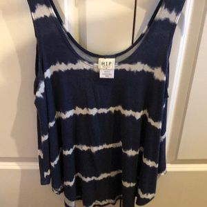 Navy and white tie dye-like tank